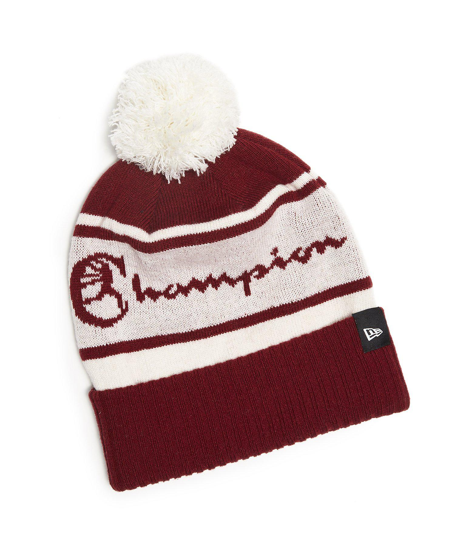 New Era Hats Champion + New Era Pom Pom Beanie In Cardinal in Red . 8aad673f3e2f