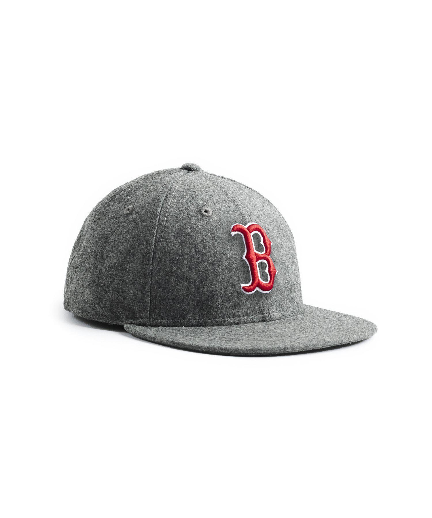 f005d356b41 NEW ERA HATS. Men s Gray Exclusive Boston Red Sox Hat In Italian Barberis  Wool Flannel