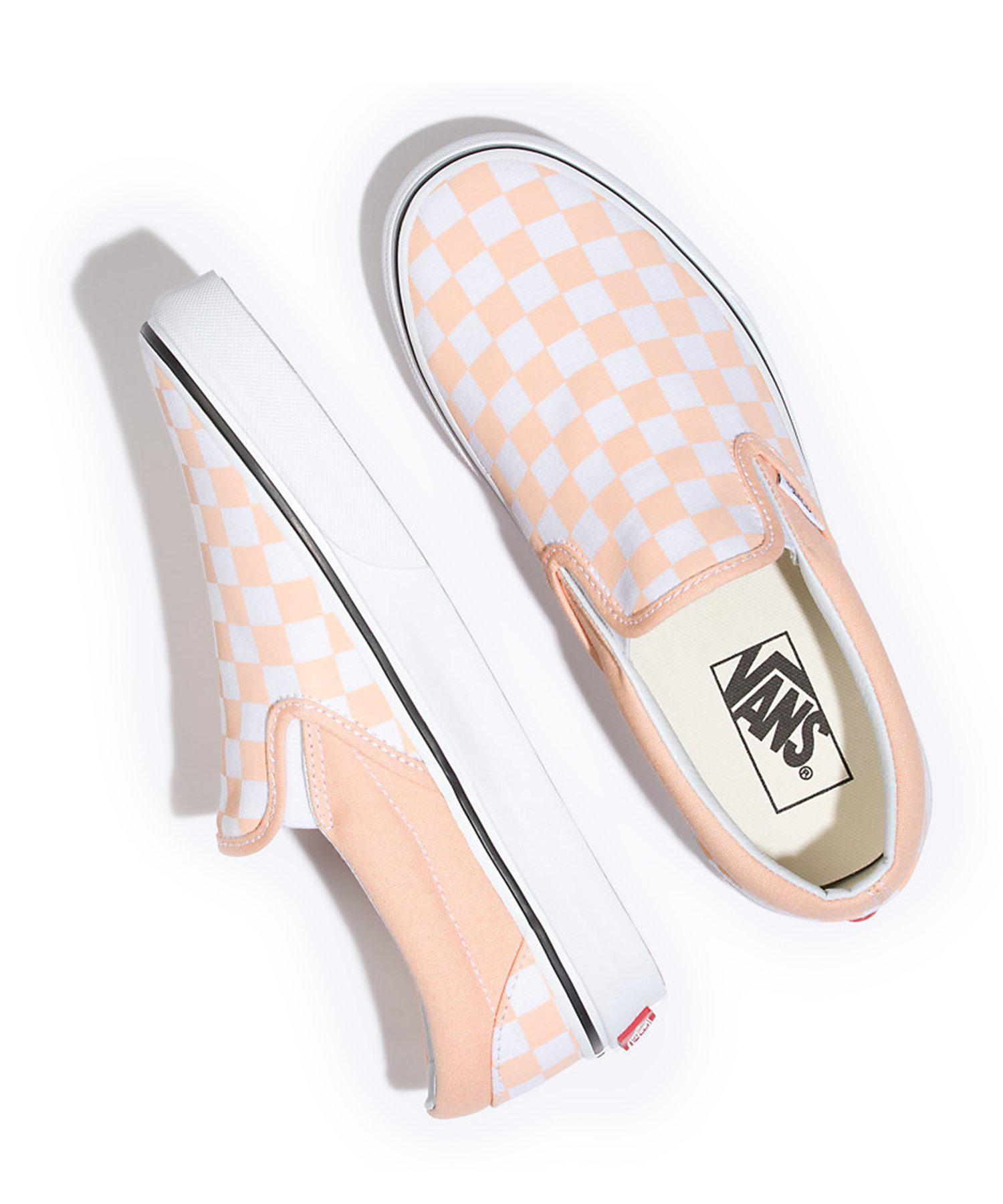 Lyst - Vans Classic Checkerboard Slip-on In Bleached Apricot in ... 47fbfcb49