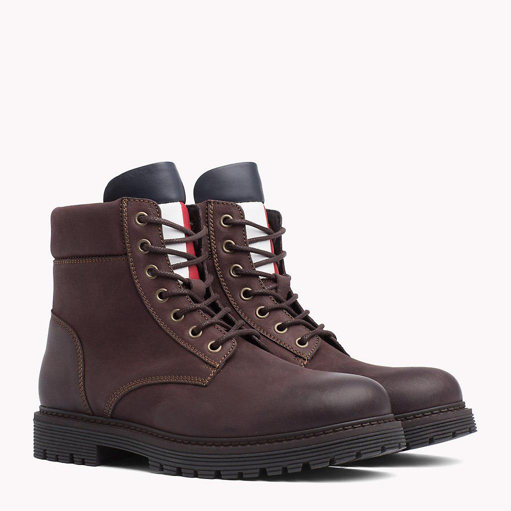 1de5debea Tommy Hilfiger Nubuck Flag Lace-up Boots in Brown for Men - Lyst
