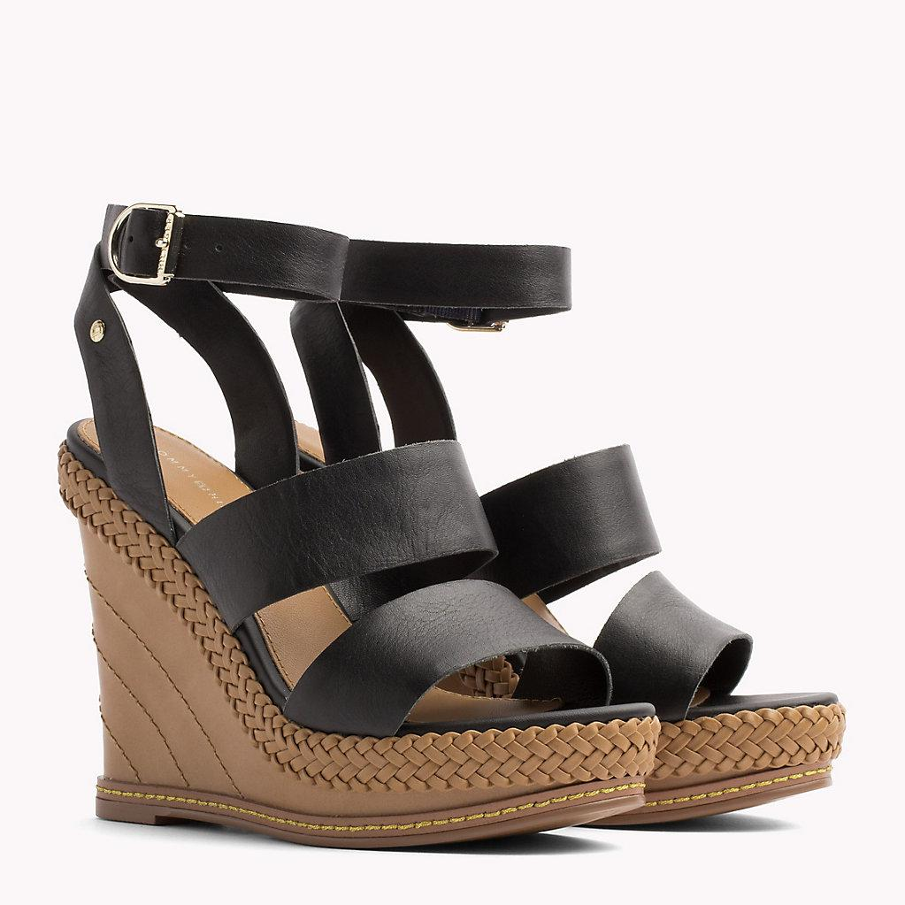 7a301c4ae1b0 Tommy Hilfiger Strappy Leather Wedge Sandals in Black - Lyst