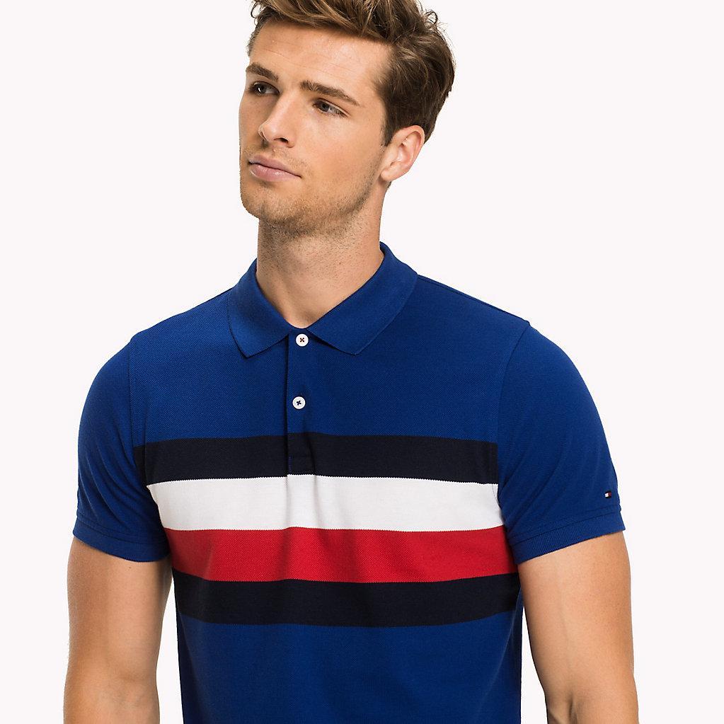 ead4af05 Tommy Hilfiger Chest Stripe Slim Fit Polo Shirt in Blue for Men - Lyst