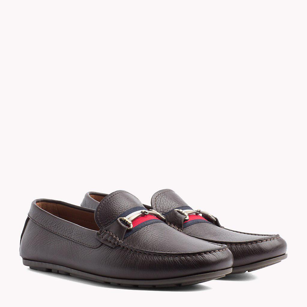 83872795e756bf Tommy Hilfiger Signature Tape Leather Loafers for Men - Save 30% - Lyst