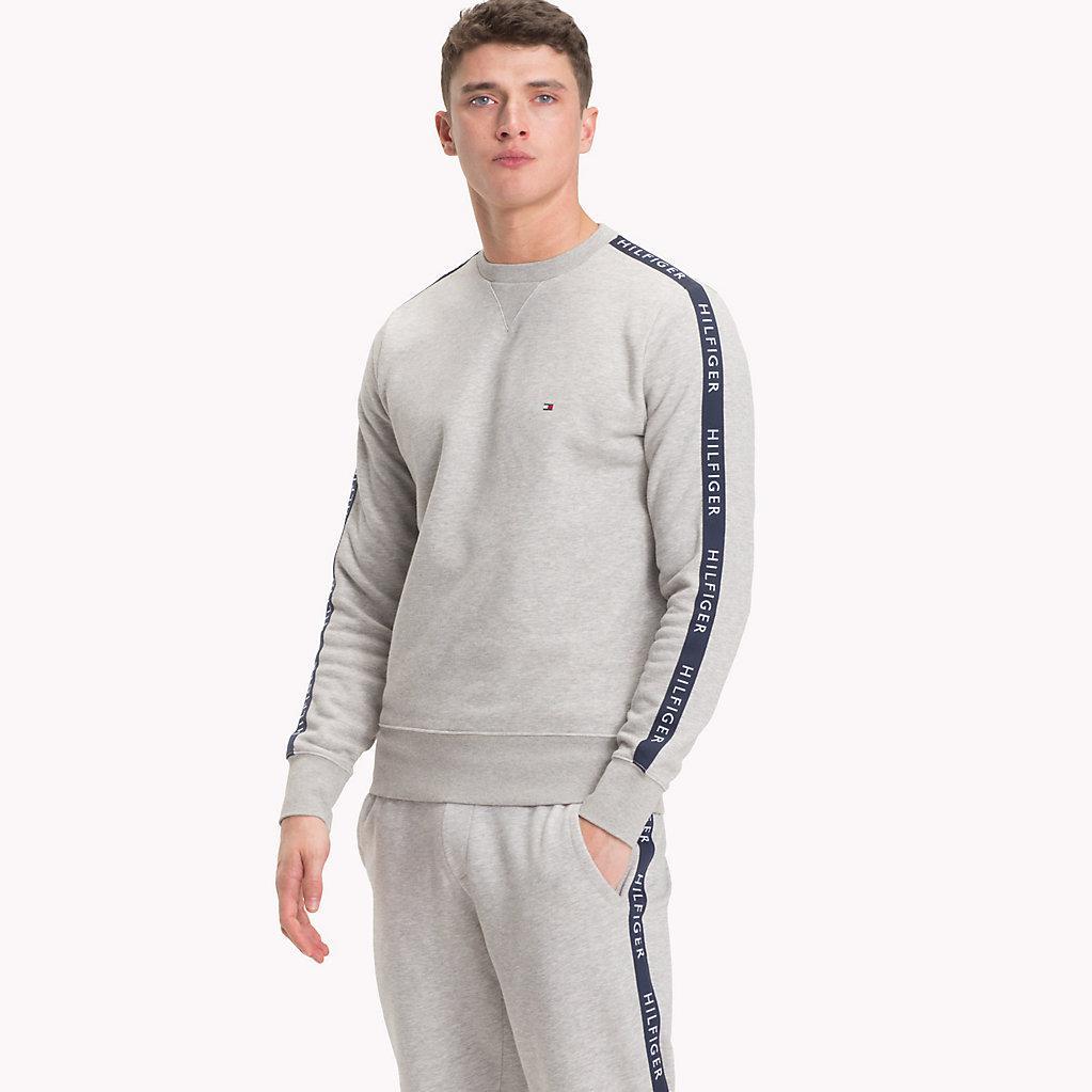 864f37ea Tommy Hilfiger Logo Tape Sweatshirt in Gray for Men - Lyst