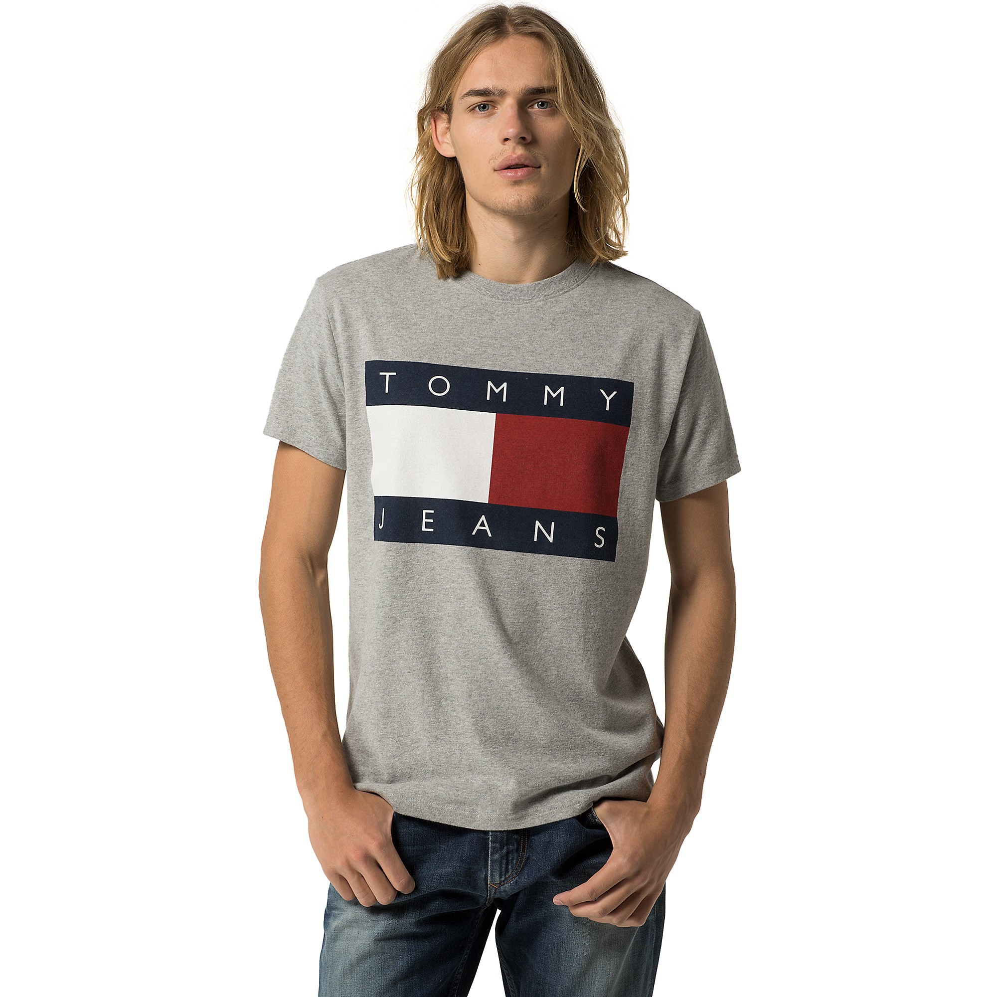 tommy hilfiger hilfiger denim flag tee in gray for men. Black Bedroom Furniture Sets. Home Design Ideas