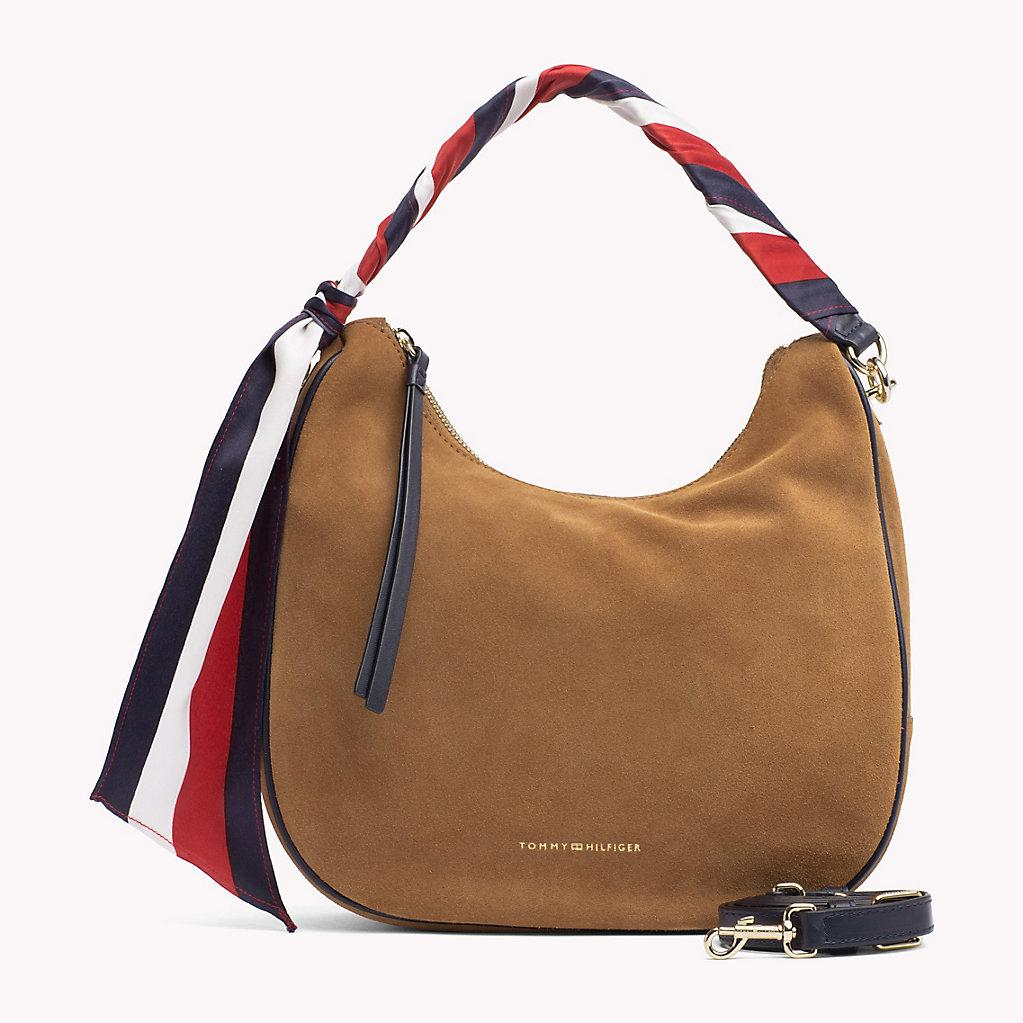 201a59592b Tommy Hilfiger Statement Strap Suede Hobo Bag in Brown - Lyst