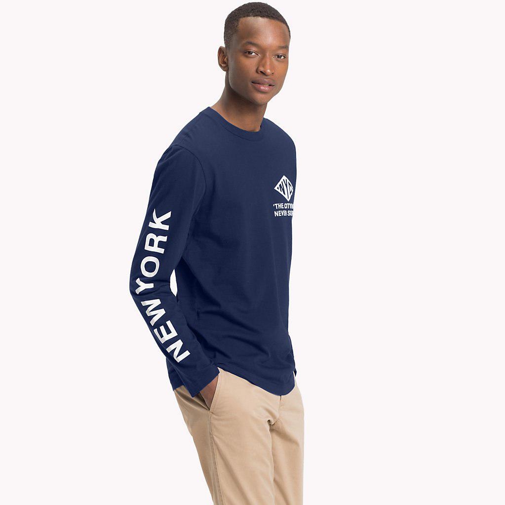 4c269765df399b Tommy Hilfiger Nyc Long Sleeve T-shirt in Blue for Men - Lyst