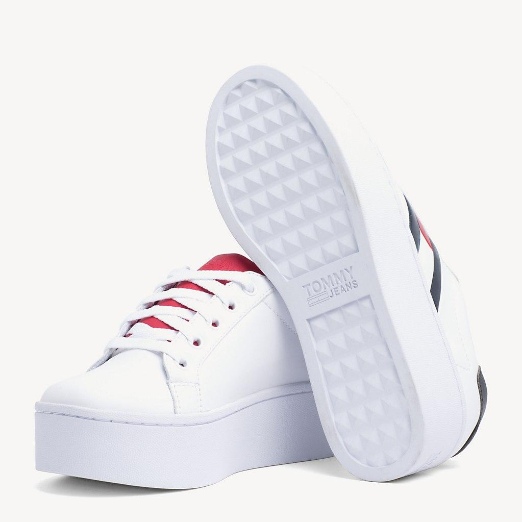 8879424451c9eb Tommy Hilfiger - Red Leather Platform Trainers - Lyst. View fullscreen