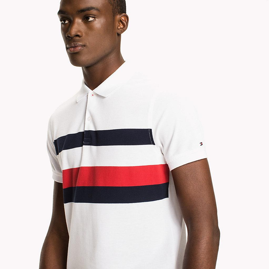 d2e683532 Tommy Hilfiger Chest Stripe Slim Fit Polo Shirt in White for Men - Lyst
