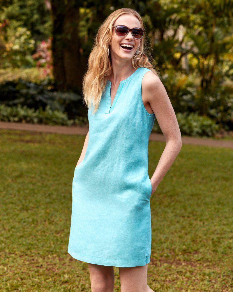 d99f32069e4 Tommy Bahama - Blue Sea Glass Linen Shift Dress - Lyst. View fullscreen