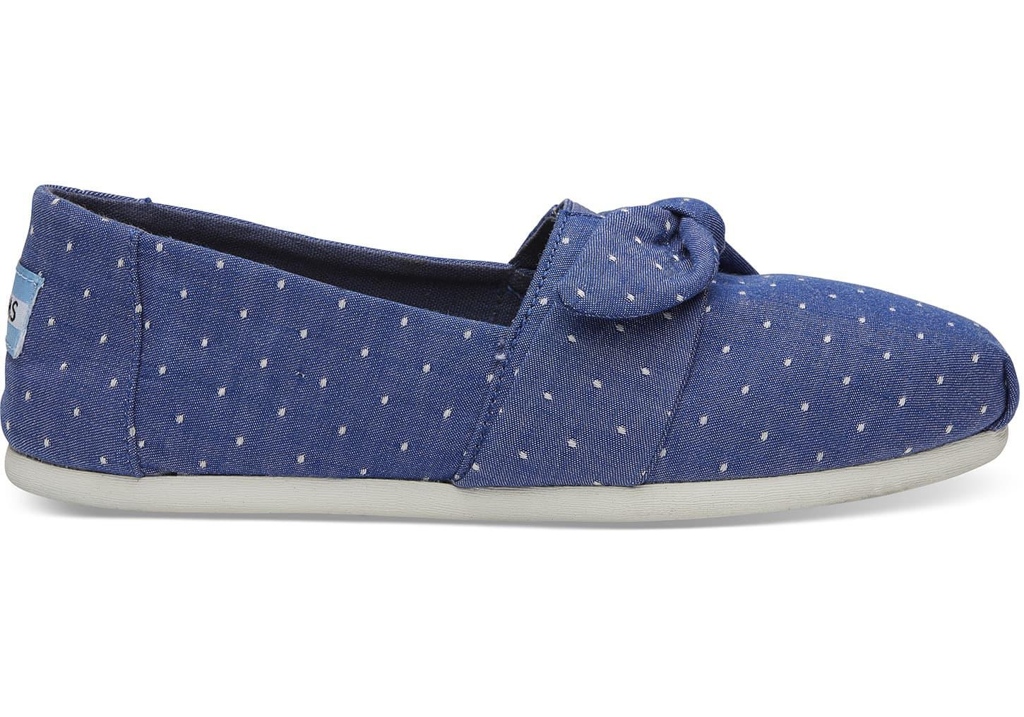 Toms Women'S Classic Chambray Rope Sole Imperial Blue Dot Ankle-High Canvas Slip-on Shoes - 8M UvvLwg8R