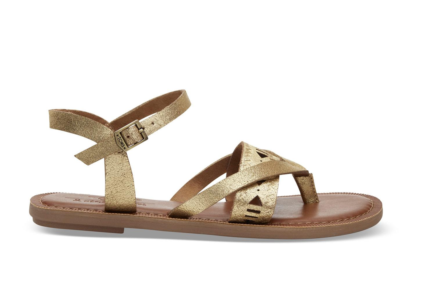 b3463edcaac TOMS Gold Metallic Suede Women s Lexie Sandals in Metallic - Lyst