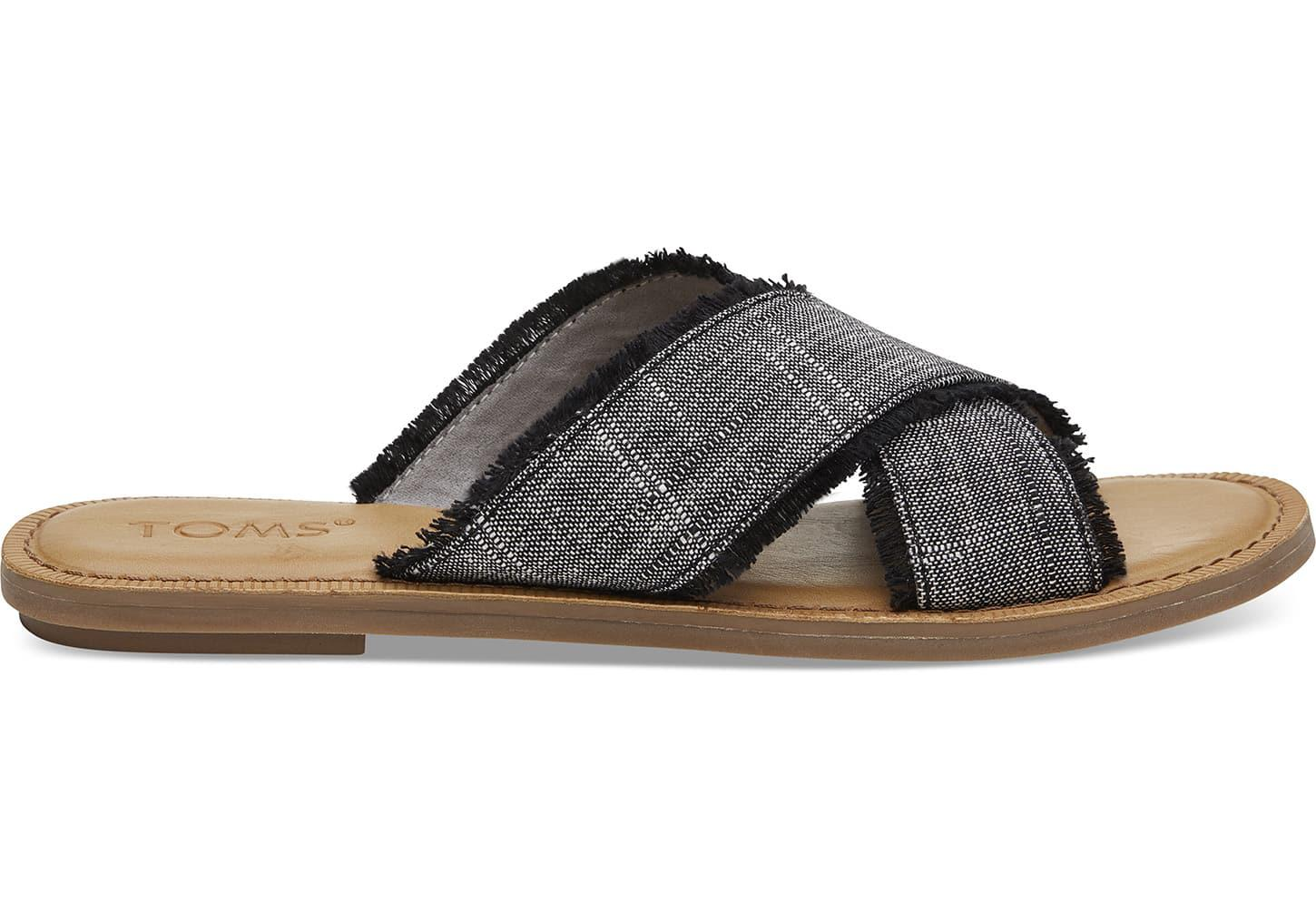 d1e59efe2495f0 Lyst - Toms Black Textured Chambray Women s Viv Sandals in Black