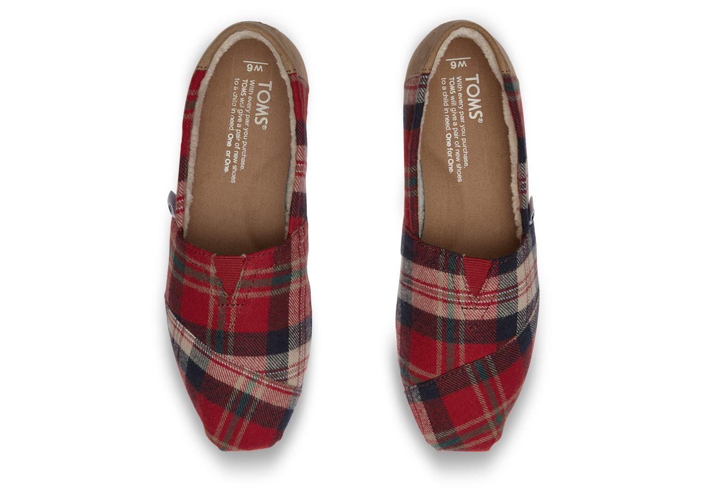 fce191b8f87e Lyst - TOMS Holiday Plaid Flat Shoes in Red
