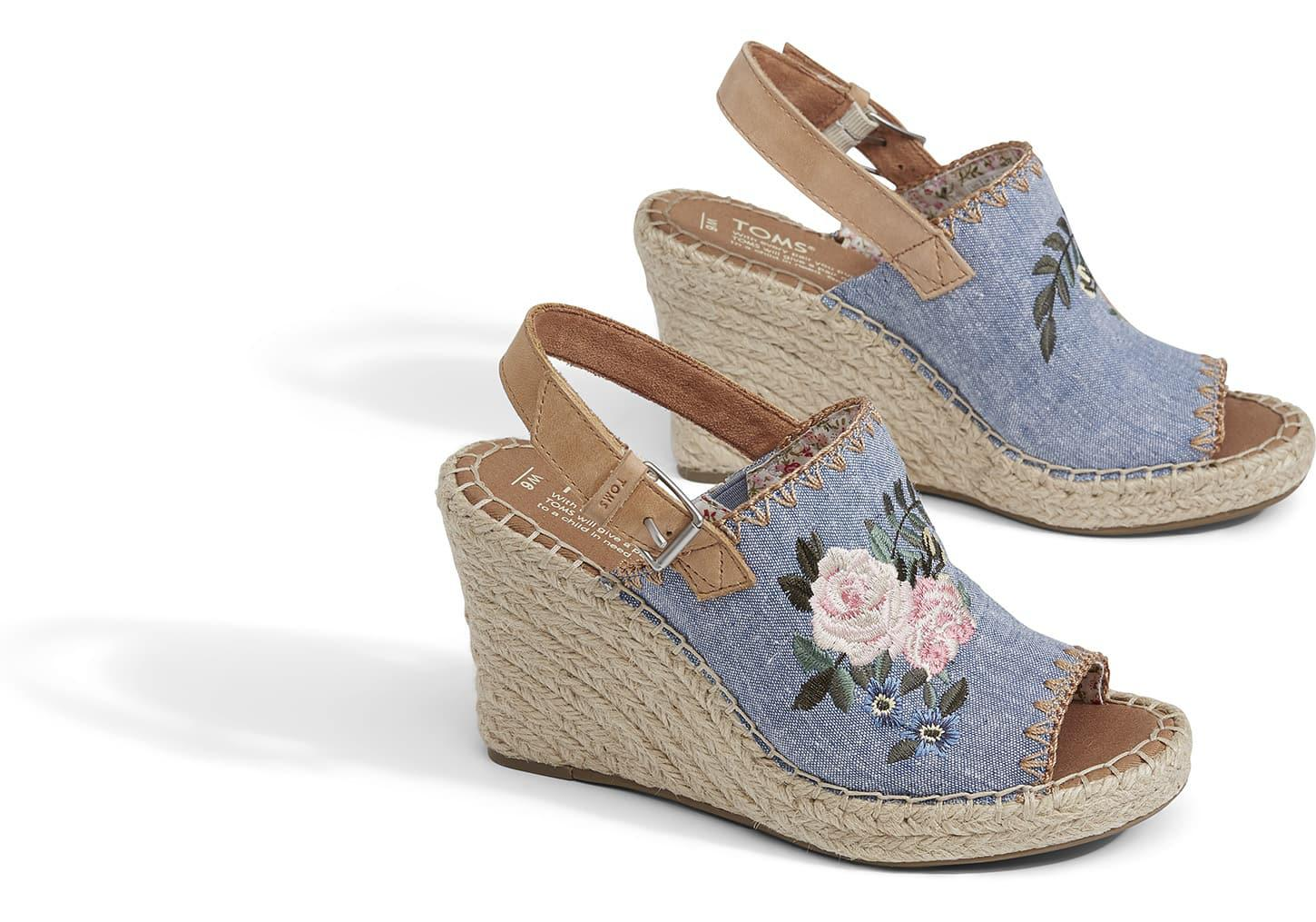 e3aa33bf912 Lyst toms floral embroidered chambray women monica wedges jpg 1450x1015 Toms  blue floral pattern wedges