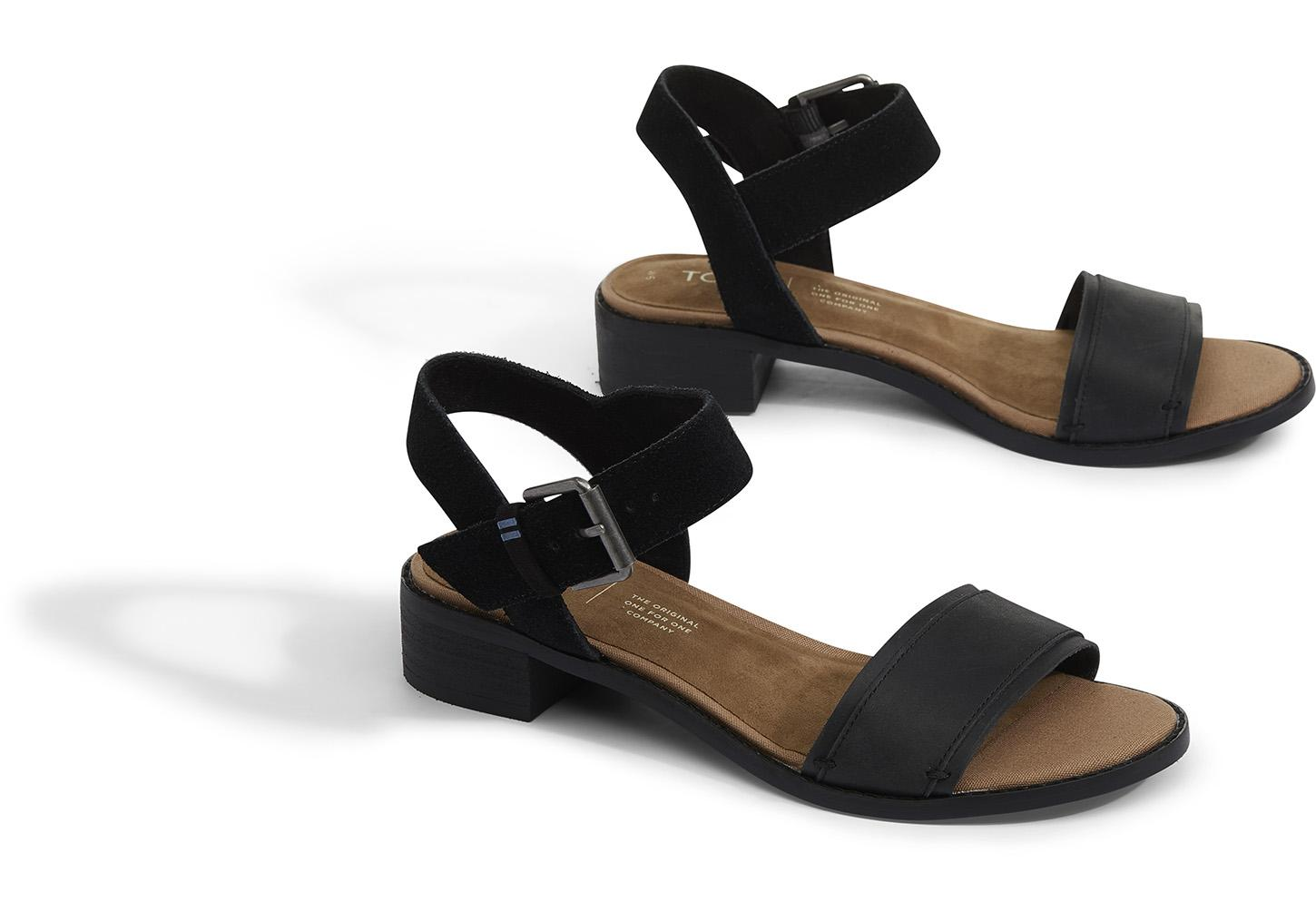9cd1af45b1ba TOMS - Black Leather With Suede Women s Camilia Sandals - Lyst. View  fullscreen