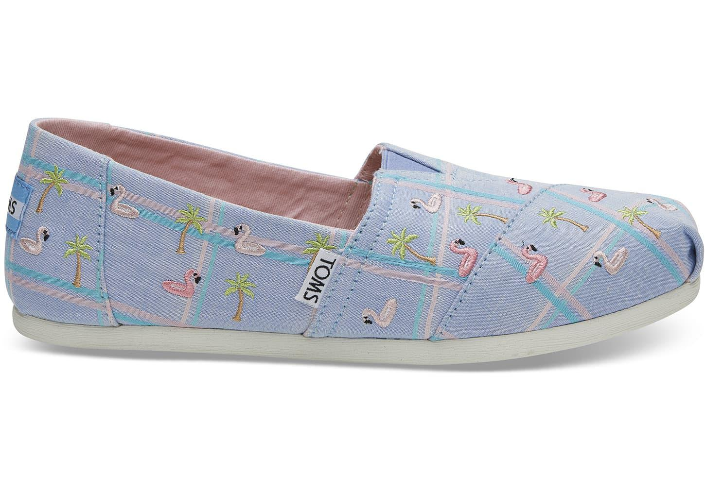 2cbf8a4d679 Lyst - TOMS Blue Madras Embroidered Flamingos Women s Classics in Blue
