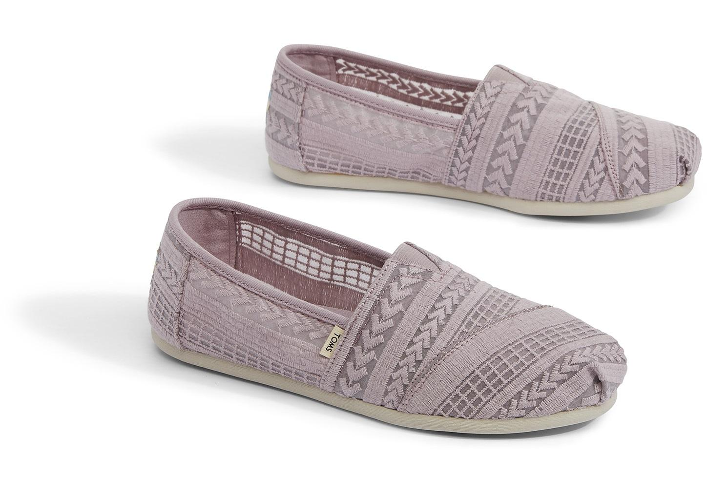 c08ea18c5bf TOMS - Purple Burnished Lilac Arrow Embroidered Mesh Women s Classics -  Lyst. View fullscreen