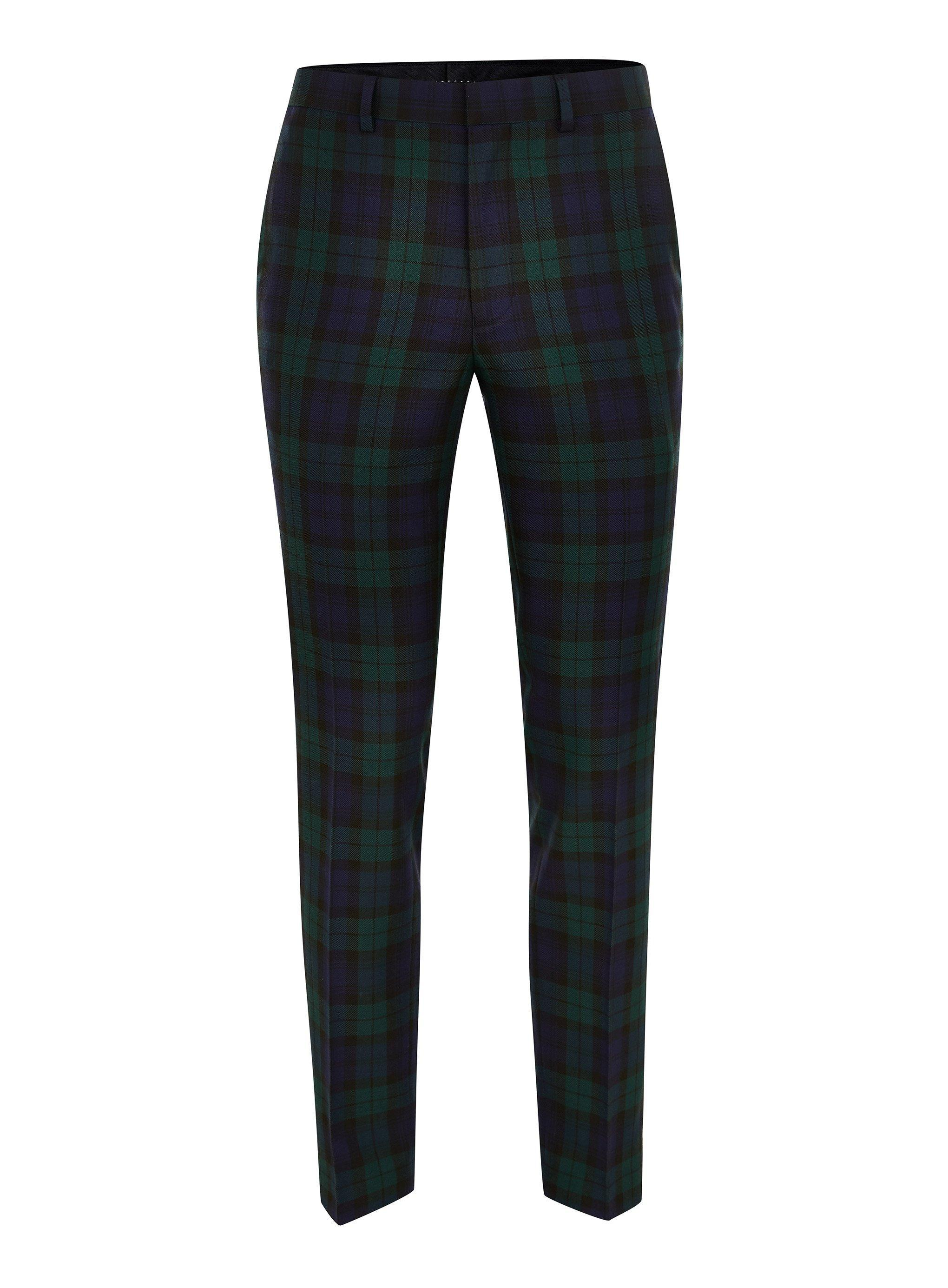 f7b33aef4 Lyst - TOPMAN Navy Green Check Dress Pant in Black for Men