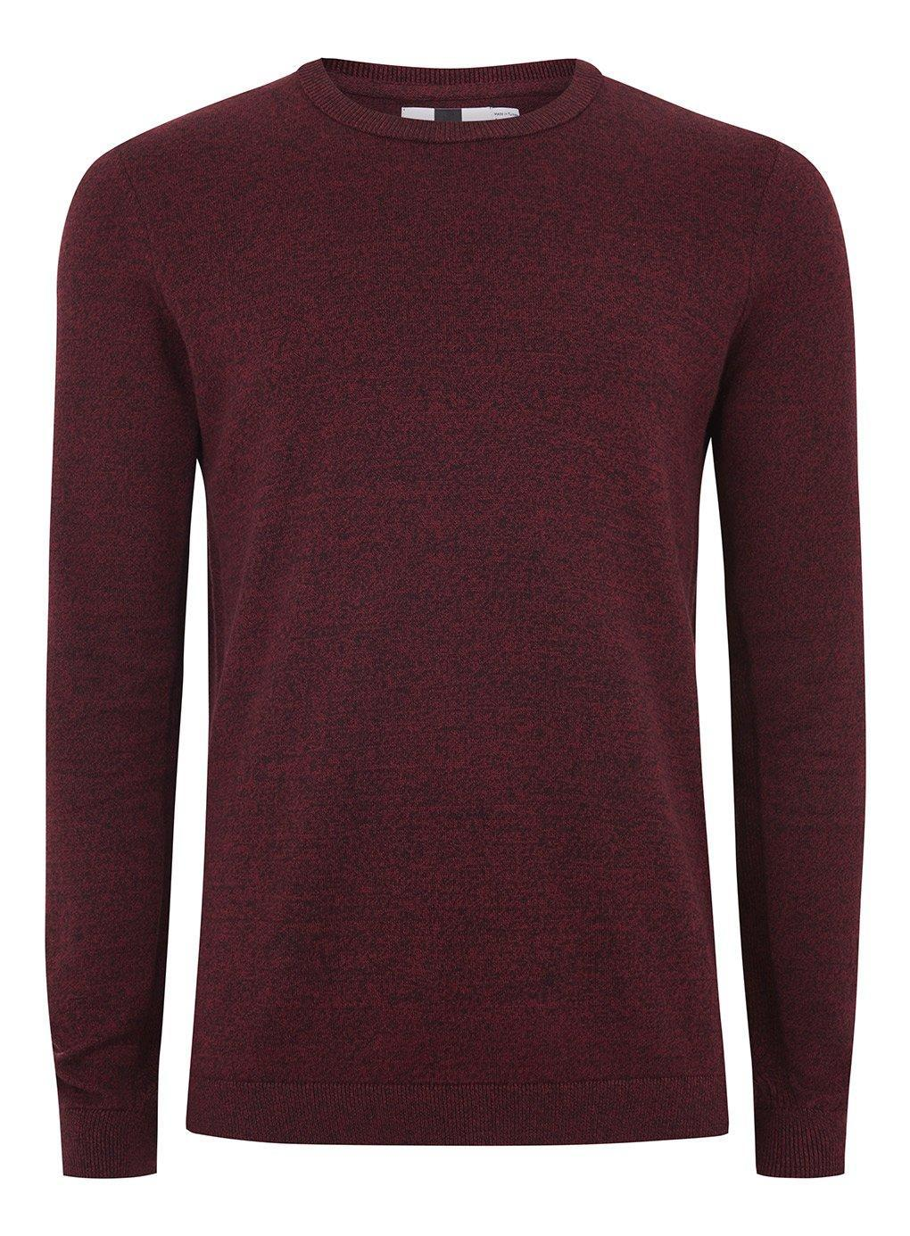 fd6e30969370 Lyst - TOPMAN Burgundy And Black Twist Side Ribbed Jumper in Red for ...