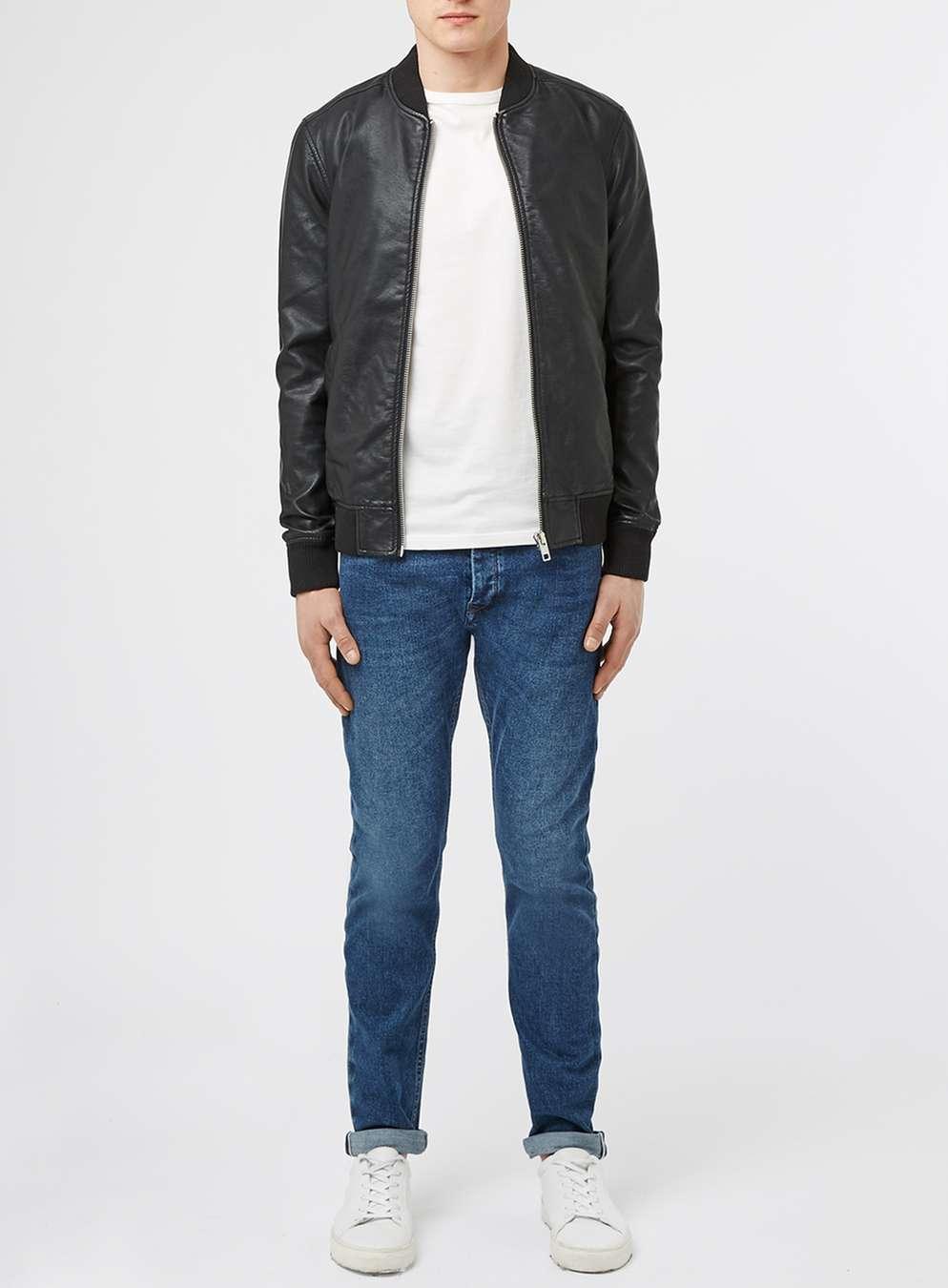 Topman leather bomber jacket