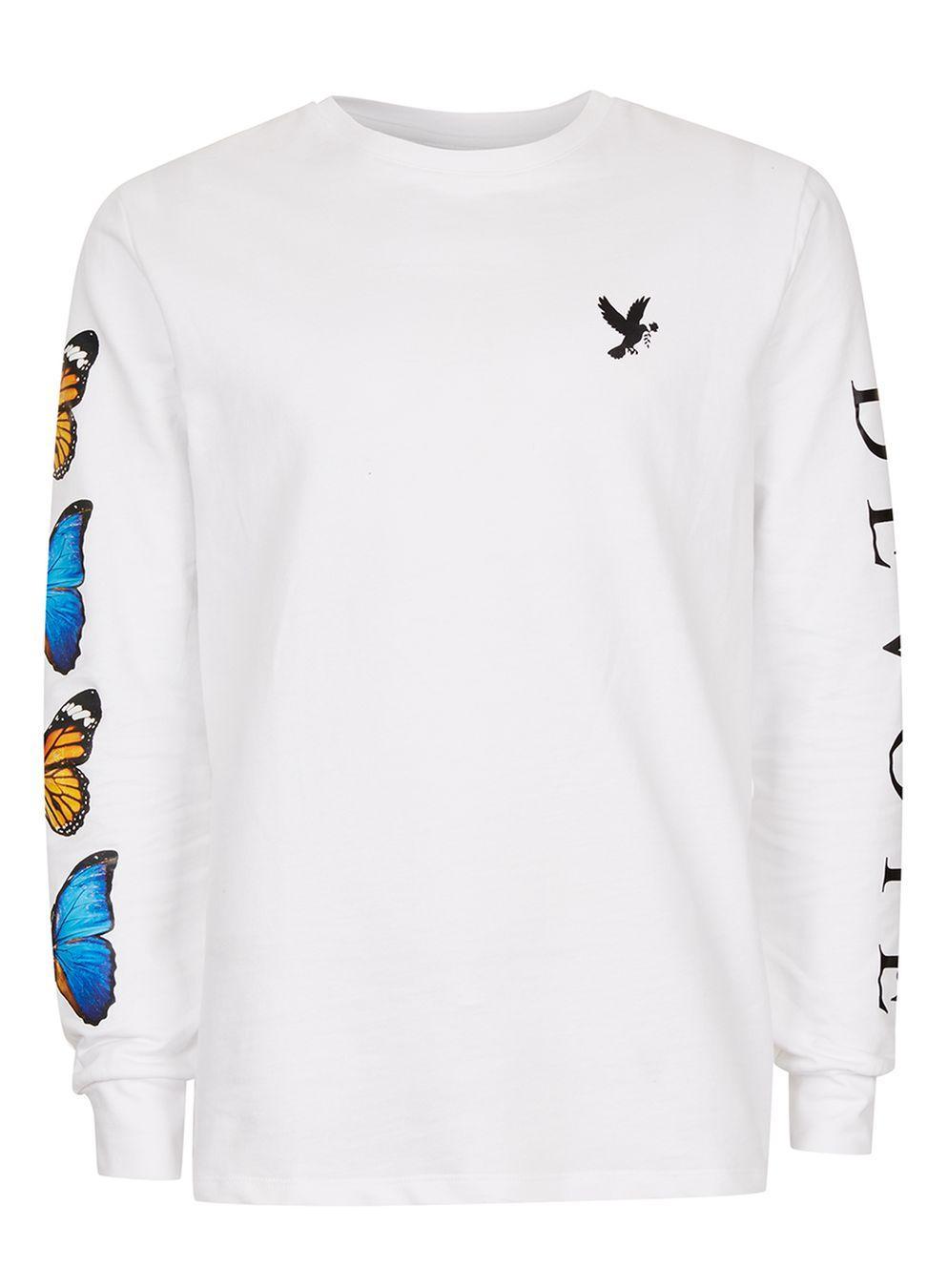 742f001a Lyst - Topman Devote White Butterfly Long Sleeve T-shirt* in White ...