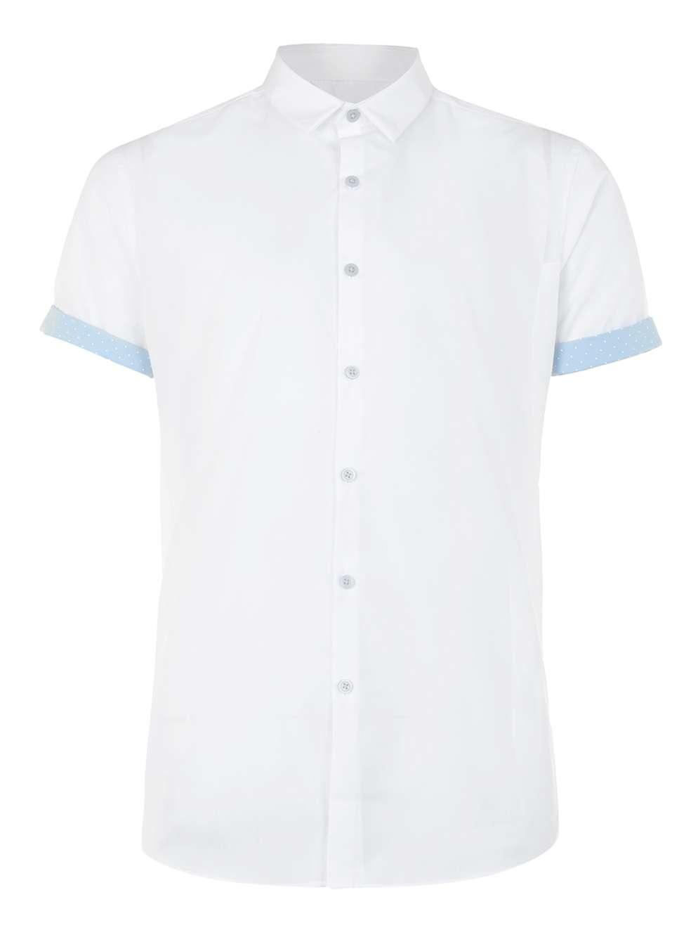 Topman white and light blue dot short sleeve dress shirt for Light blue short sleeve shirt mens