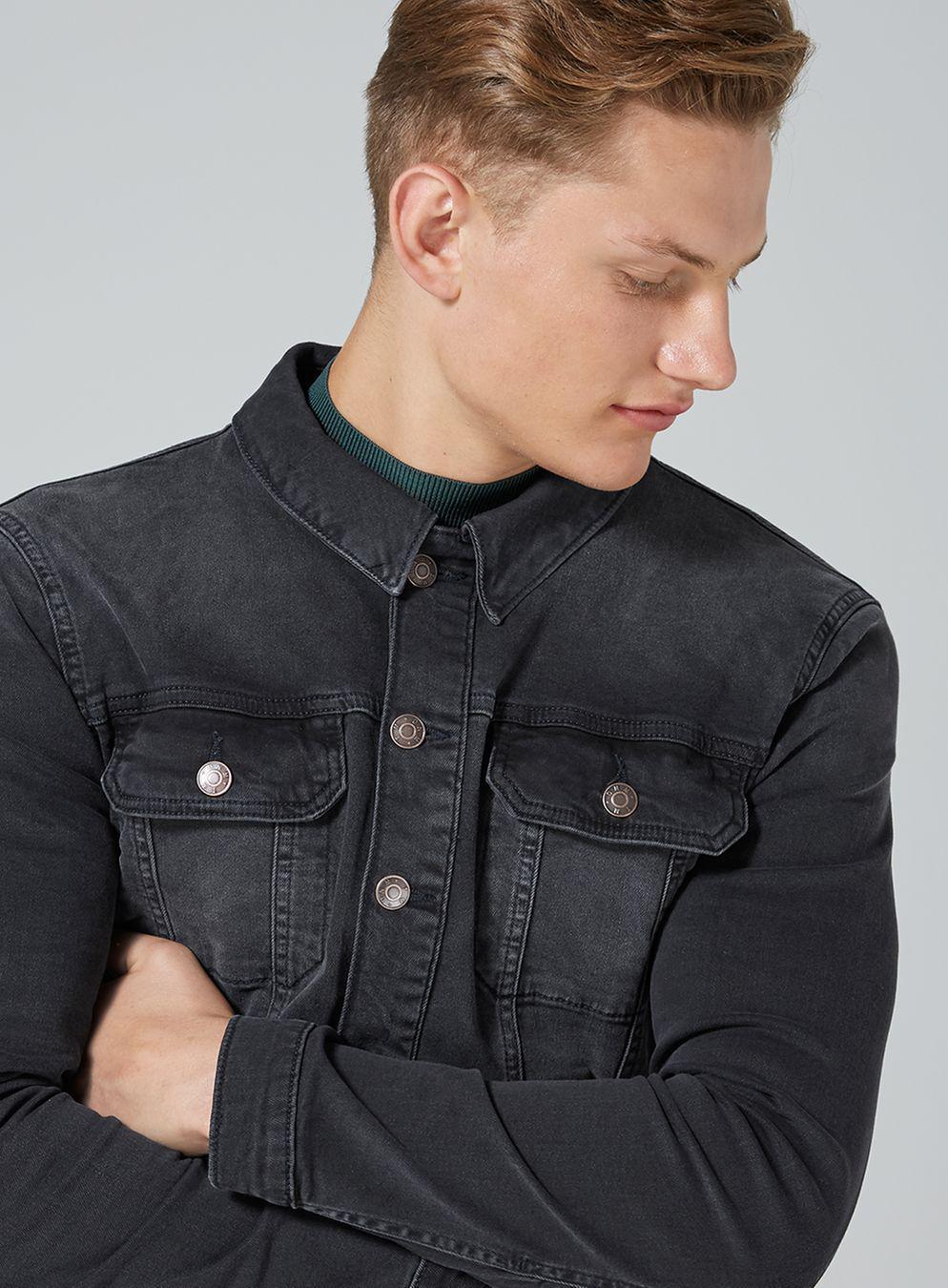 0b536659812 TOPMAN Black Muscle Fit Denim Jacket in Black for Men - Lyst