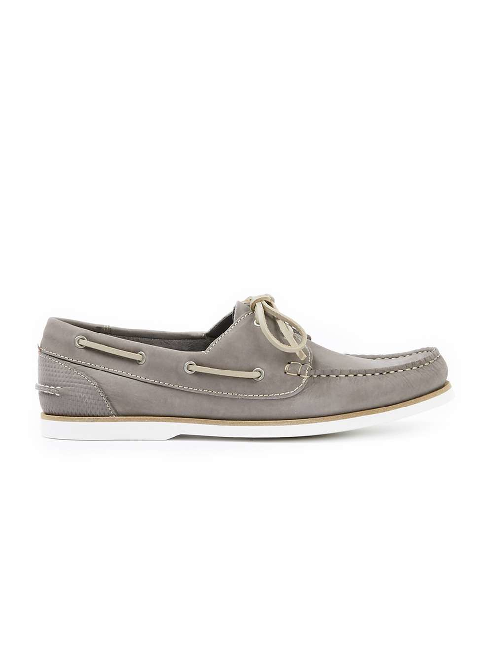topman grey leather boat shoes in gray for mid grey