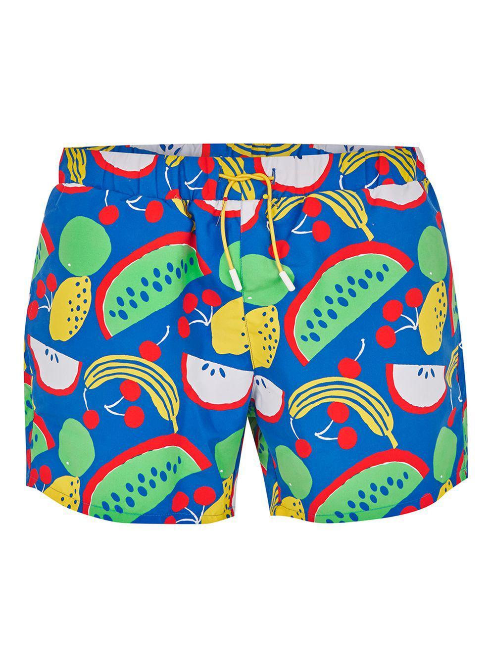 695b767cc5 TOPMAN Blue Fruit Print Swim Shorts in Blue for Men - Lyst