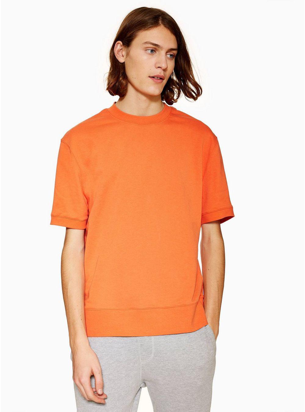f3550cff Topman Orange Short Sleeve Sweatshirt in Orange for Men - Lyst