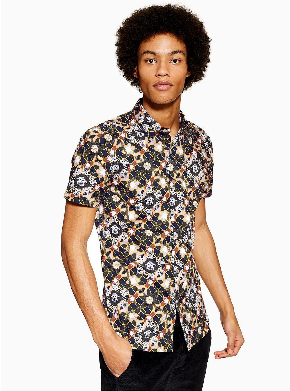 821dd806c624b Topman Black Star Floral Stretch Skinny Smart Shirt in Blue for Men ...