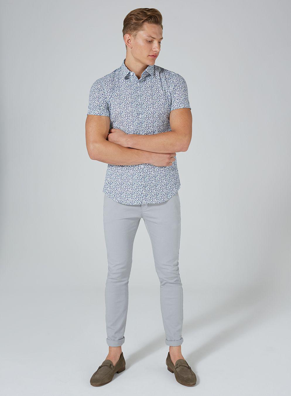 b6ad8adfcc1 Lyst - TOPMAN White And Blue Floral Shirt in Blue for Men