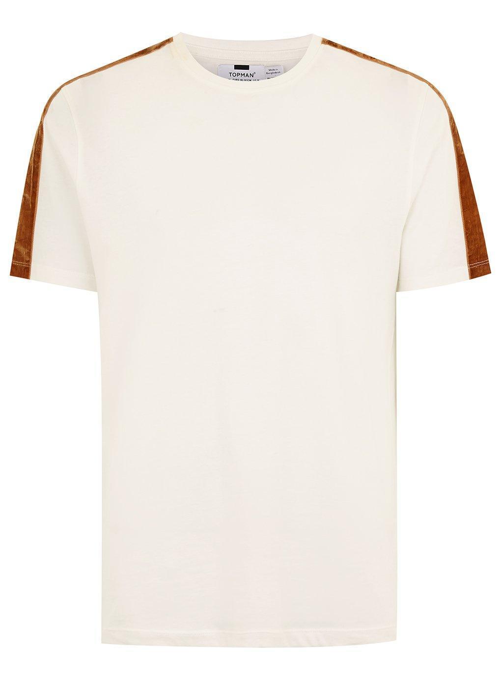 c8910e41 Topman - Multicolor Ecru Velour Taping T-shirt for Men - Lyst. View  fullscreen