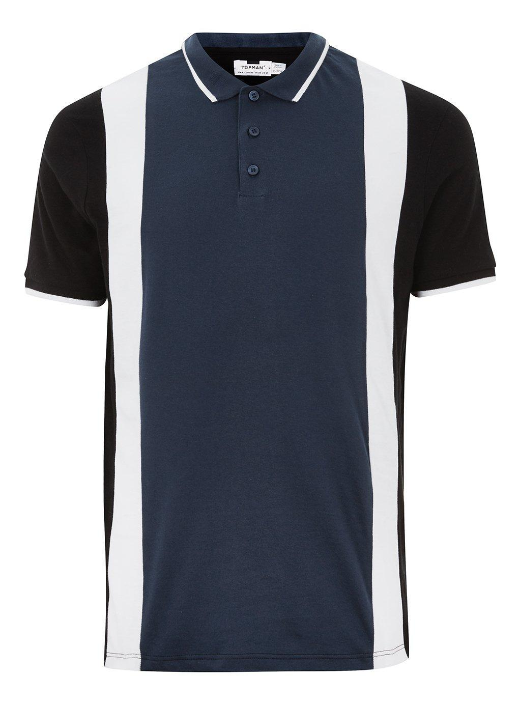 f62d6dc2 TOPMAN Navy Panel Slim Fit Polo in Blue for Men - Lyst