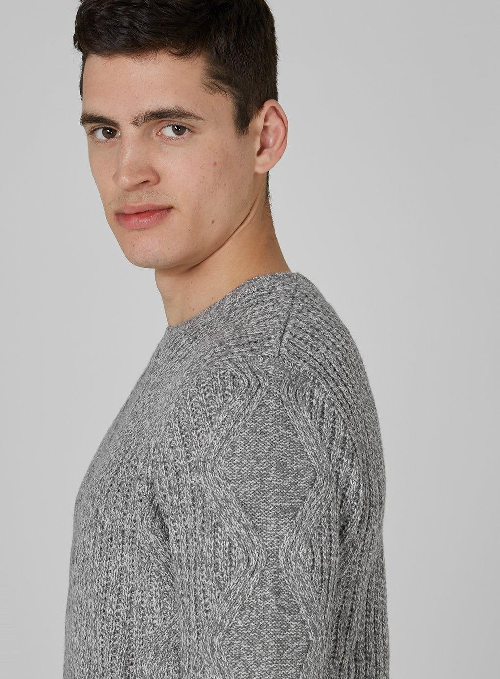 For Lyst Sweater Men White Gray Twist Knit Cable And In Topman Tztr7