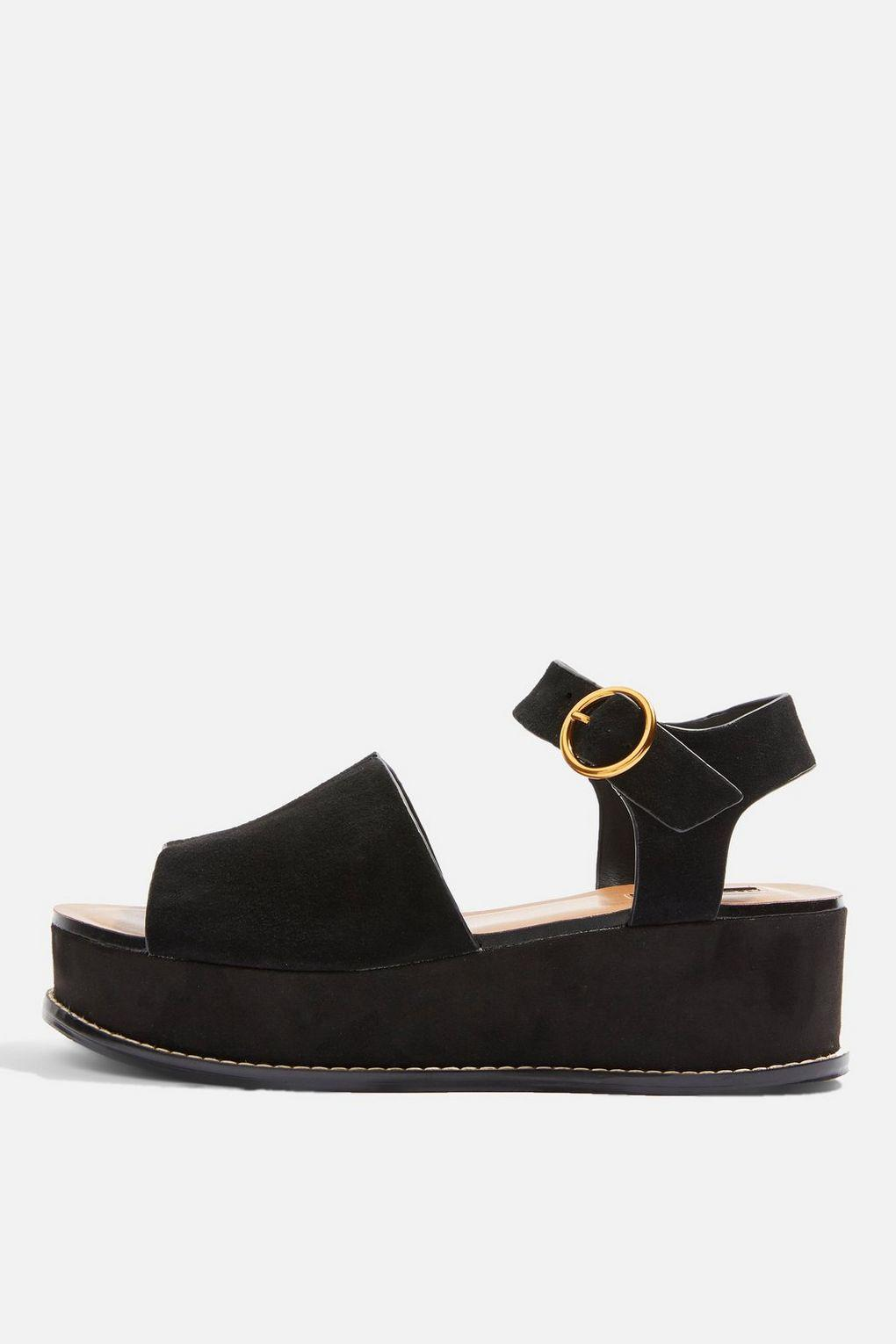33582b9a5869 Lyst - TOPSHOP Wow Platform Wedge Sandals in Black