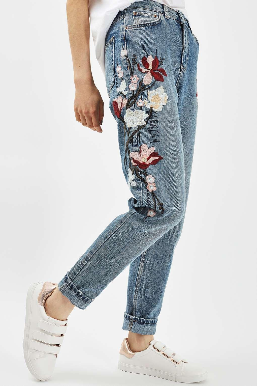 Lyst - Topshop Moto Floral Embroidered Mom Jeans in Blue