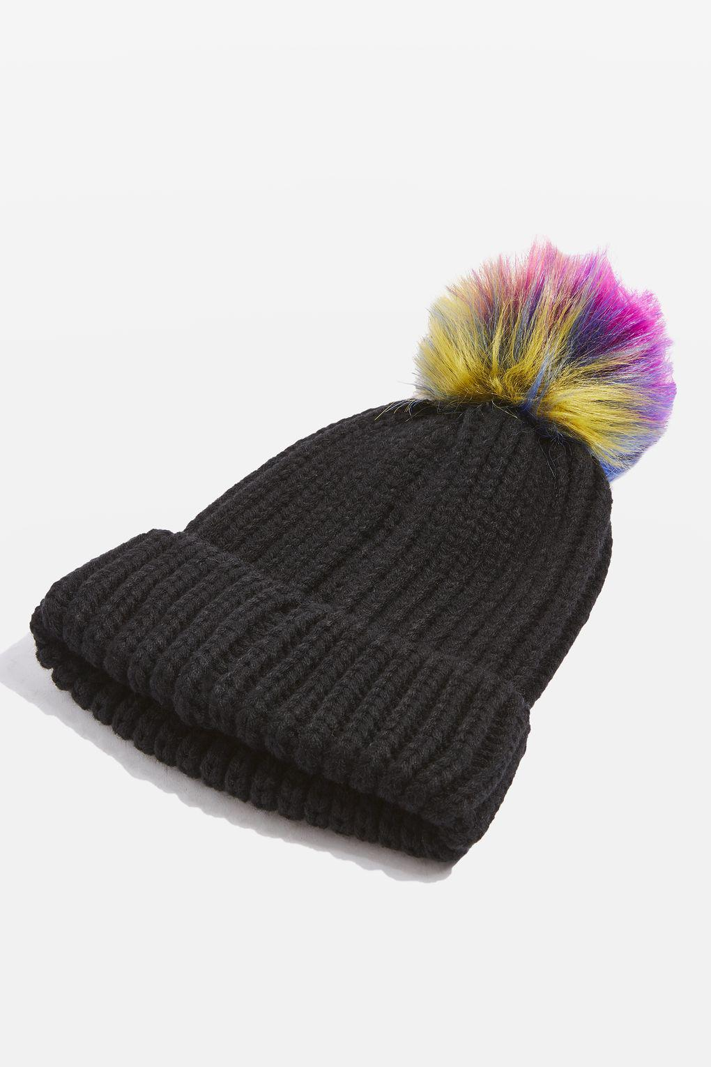 1a96fac9758 Lyst - TOPSHOP Rainbow Pom Pom Ribbed Beanie Hat in Black