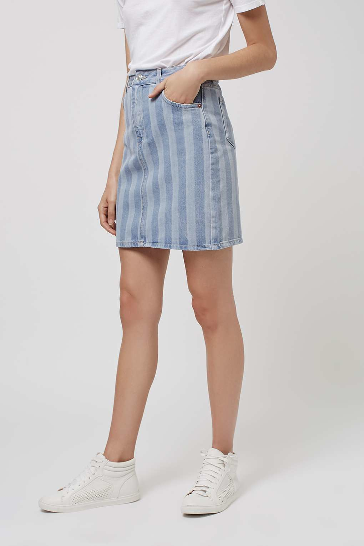 topshop moto denim stripe skirt in blue lyst