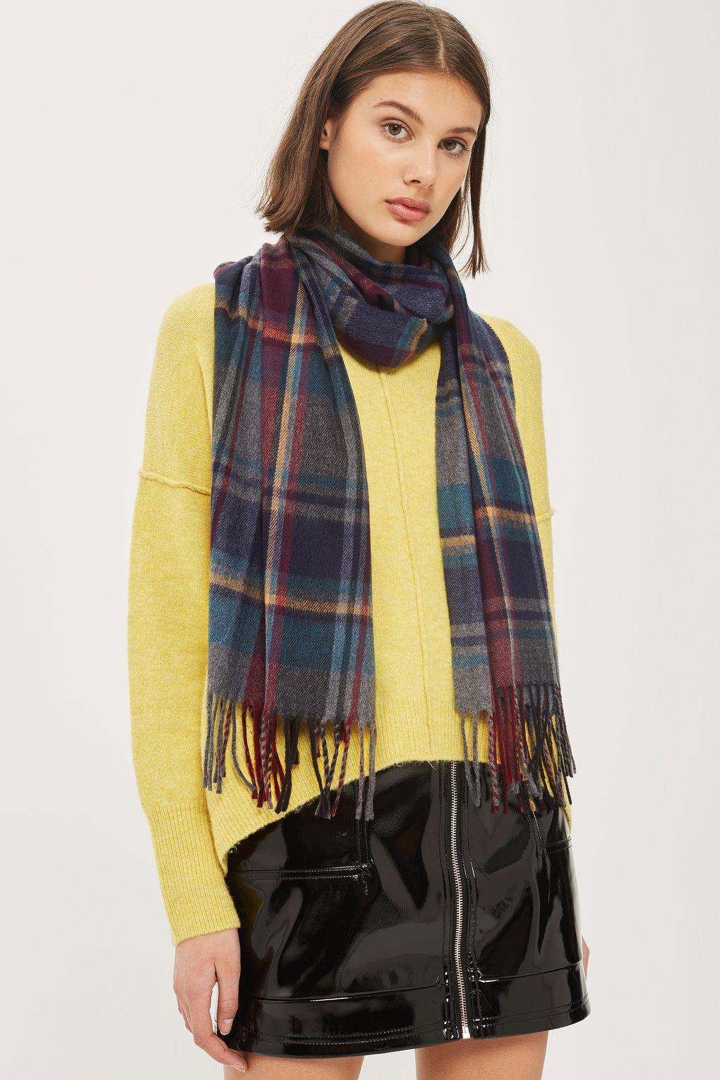 58597d87f TOPSHOP Grid Check Scarf - Lyst