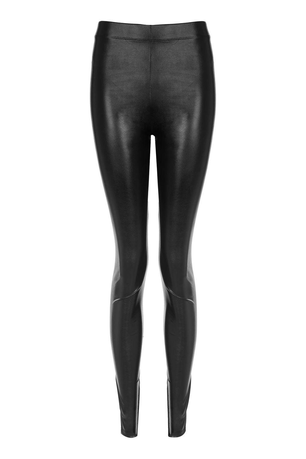 08e4af0bcd3ce TOPSHOP Tall Wet-look Leggings in Black - Lyst