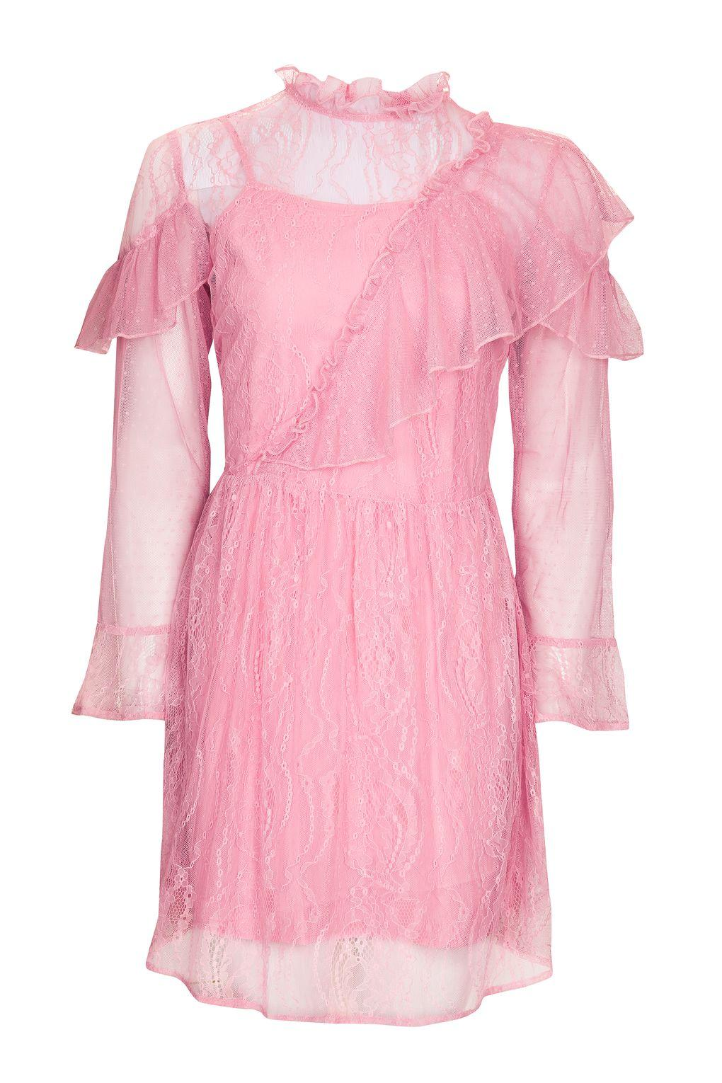 Topshop Flute Sleeve Lace Dress In Pink Lyst