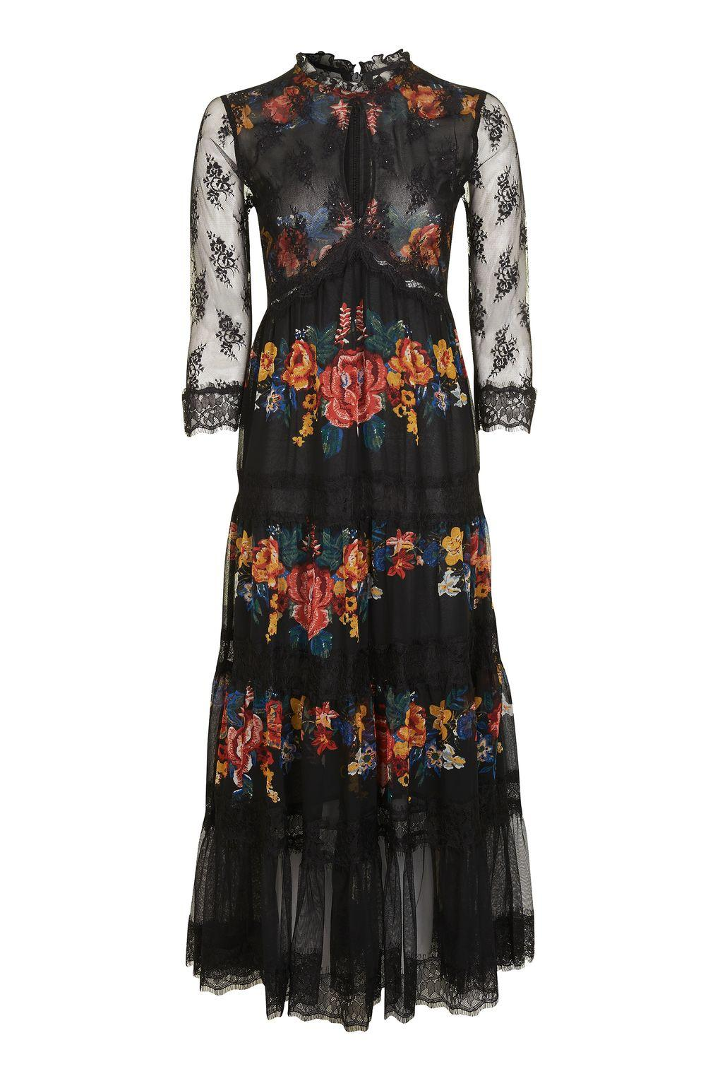 Topshop Lace Tier Floral Midi Dress In Black Lyst