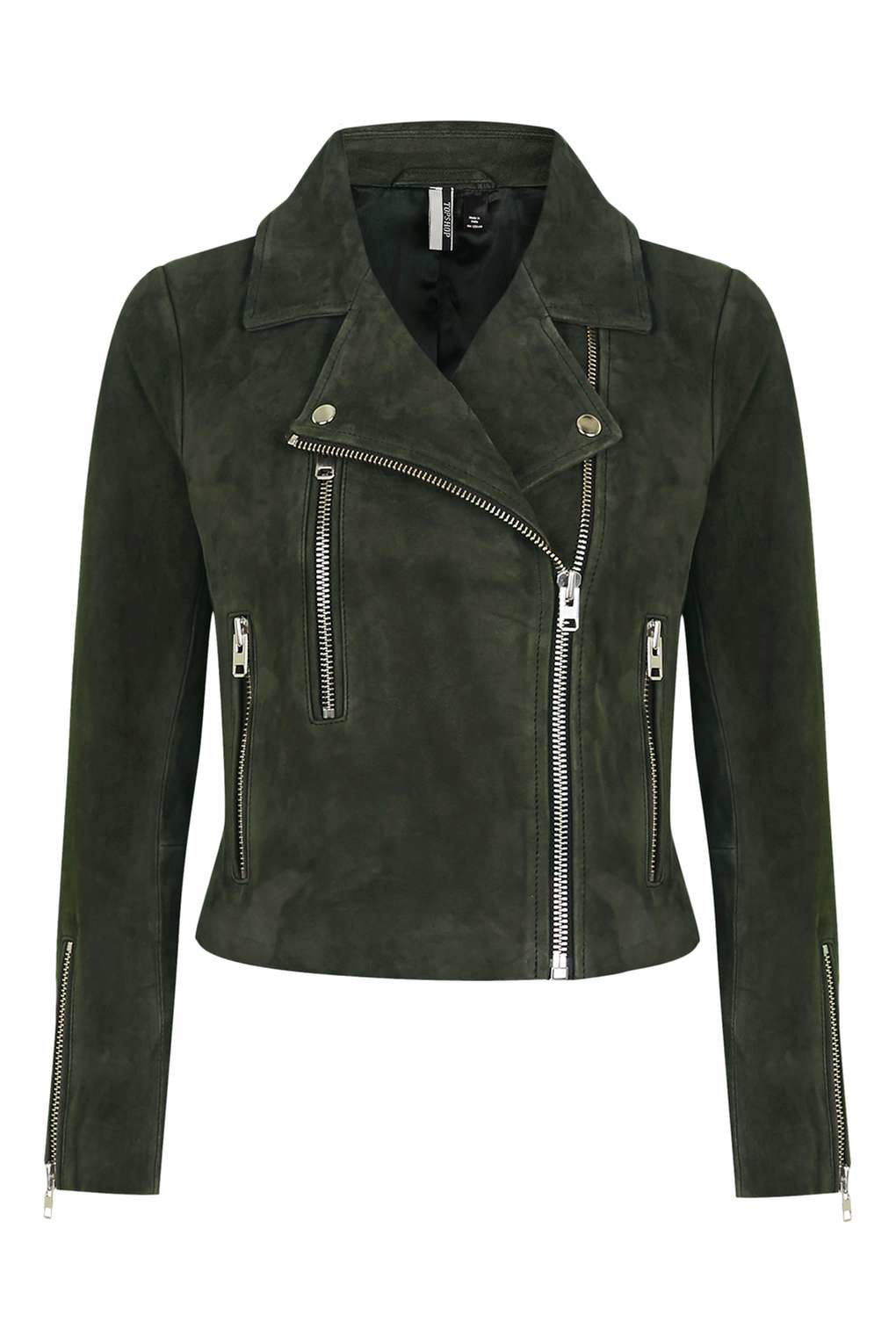 lyst topshop suede biker jacket in brown. Black Bedroom Furniture Sets. Home Design Ideas