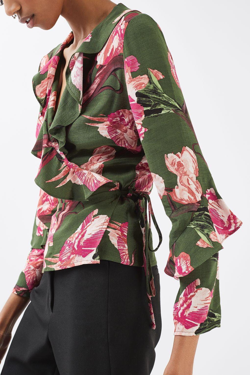 0e1d6e2ac02aba TOPSHOP Floral Ruffle Wrap Blouse in Green - Lyst