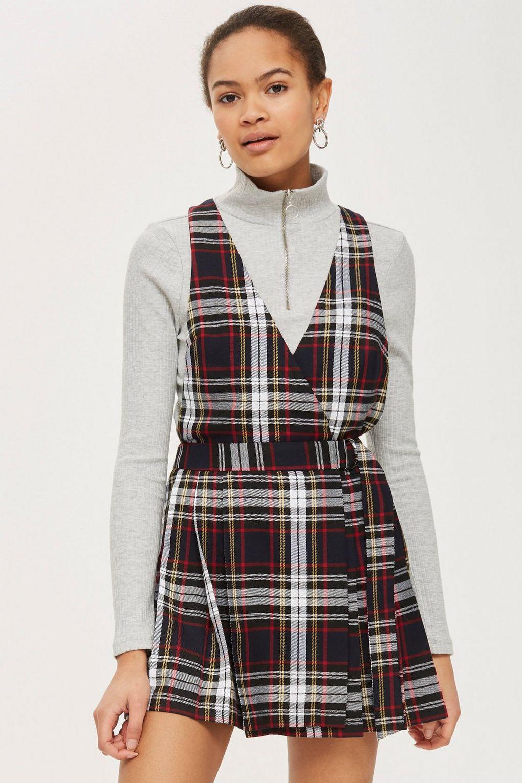 4f84483b265b TOPSHOP Tartan Mini Pinafore Dress in Black - Lyst