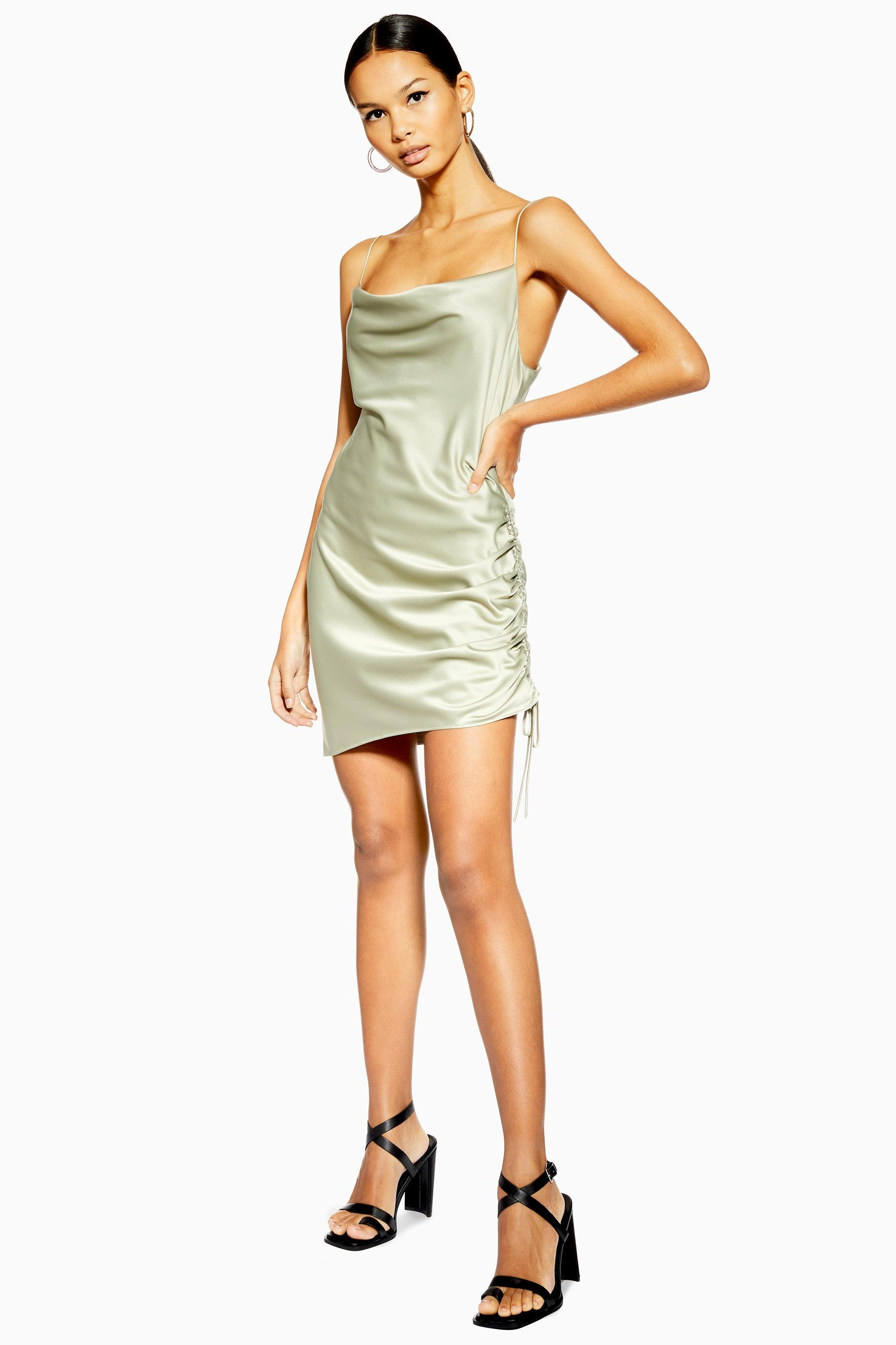 b8ac529073a8 TOPSHOP. Women's Ruched Satin Mini Slip Dress