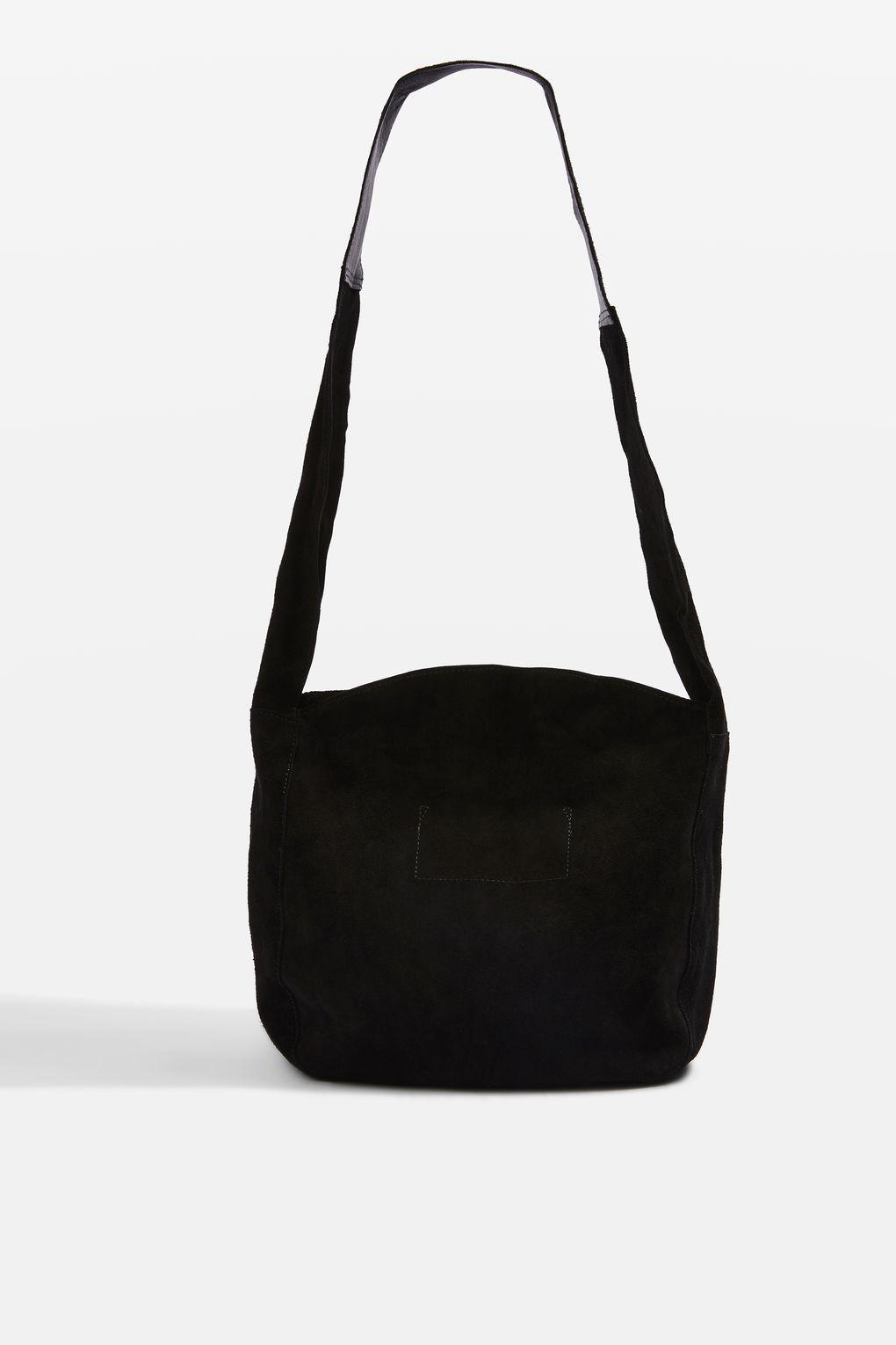 Topshop Susie Leather Slouch Mini Hobo Bag In Black Lyst