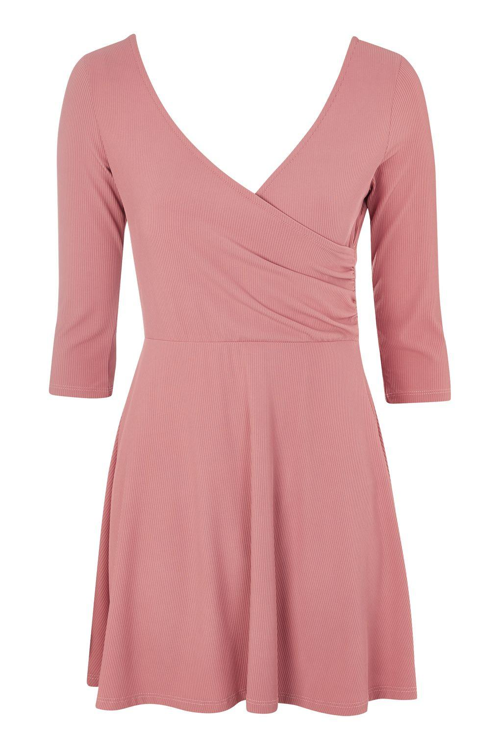 Lyst topshop petite wrap back skater dress in pink for Womens denim shirts topshop